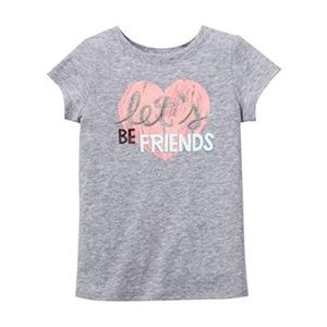 Girl's Let's Be Friends Heart Tee -4T Heather Gray